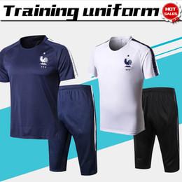 Wholesale france soccer kit - 2018 world cup France Training suit kit short sleeve France blue Train uniform 2018 white football uniform +shorts Sales