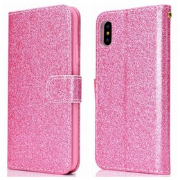 64fe6f2357a8 For Huawei P20 Lite Y9 Y5 2018 Enjoy 7S Luxury Sparkly Wallet Leather Case  PU Shiny Sparkle Flip Covers Bling Glitter Card Slot Powder Strap