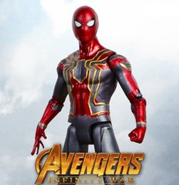 Wholesale Iron Man Pvc - 17cm Marvel Avengers Action Figures Infinity War Superhero Iron Spider Spider-Man PVC Toys Collectible Model Kids Toy AAA441