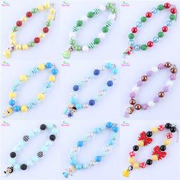 Wholesale halloween bubblegum necklace - Fashion Choker Necklace Chunky Bubblegum Necklace Beaded Pendant Necklace Character Princess Necklaces & Pendants For Kids Gift