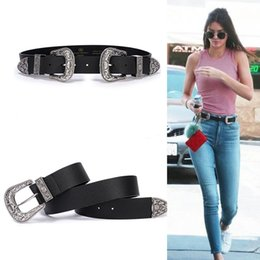 belt black star Coupons - Fashion Ins Stars Kendall Jenner Style Belts Double Buckles Gothic Waistband Belt Solid Mental Buckle Selena Gomez Vogue Belts