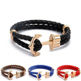 Wholesale mens weave bracelet - Viking Jewelry Mens Black Alloy Pirate Nautical Navy Anchor Bracelets Rope Woven Bracelet for Women Men Friendship Bracelets