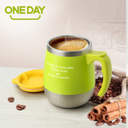Wholesale Milk Tray - 450ml Mug Coffee Cup Stainless Steel Milk Tea Mug Keep Mugs With Handle Anti -Dust Coffee Cups Seal Mass Tea Water Bottle Tazas