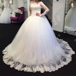Wholesale Simple Wedding Dresses Korean Style - NE315 Custom Made New 2018 Hot Sale Korean Style Design Long Sleeves Lace Simple Bride Wedding dresses Ball Gown