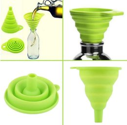 Wholesale Eco Styling Gel - Hot Silicone Gel Foldable Collapsible Style Funnel Hopper Kitchen Cozinha Cooking Tools Accessories Gadgets Outdoor