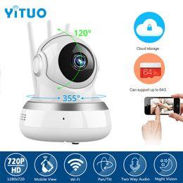 Wholesale Wireless Cloud Camera - hd 720P IP Camera WIFI 1.0MP CCTV Video Surveillance P2P Home Security Three Antennas Cloud Storage WiFi Baby Monitor YITUO