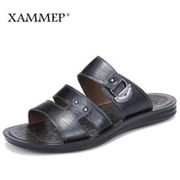 Wholesale Plus Size Cotton Thongs - Xammep Summer Men Sandals Genuine Split Leather Men Beach Sandals Brand Casual Shoes Flip Flops Thong Sneakers Plus Big Size
