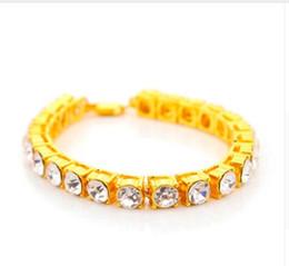 Wholesale Men Heavy Gold Chain - 8MM Bracelet Hip Hop Heavy men Bracelet Iced Out 1 Row Rhinestones Bracelet Men's Hip Hop Style Clear Simulated Diamond Bling