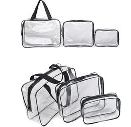 transparente make-up-tasche organizer Rabatt Transparent PVC Taschen Reiseveranstalter Klar Make-Up Tasche Kosmetikerin Kosmetiktasche Schönheit Fall Kulturbeutel Schminktasche Wäsche Taschen 3 Teile / satz