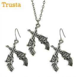 Wholesale Unique Girls - Trusta Small Double Gun Earrings Necklace Vintage Silver Unique Jewelry For Girls CA0130