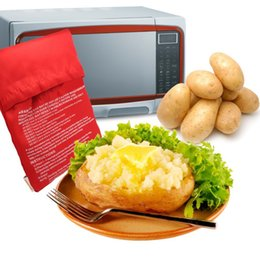 Wholesale fast food bags - Potato Express Microwave Red Color Potato Cooker Bag 4 Minutes Quick Cooing Fast Reusable Washable Quick Cooing Kitchen Food Baking Bag