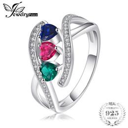 JewelryPalace 1.0 ct создан Рубин создан Сапфир имитация Изумрудный кластер кольцо стерлингового серебра 925 многоцветный кольцо для женщин от Поставщики имитированный рубин