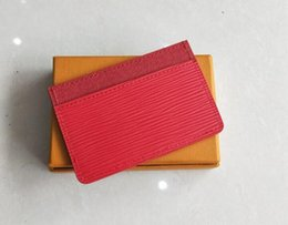Wholesale Short Design Women - New fashion classic design Credit red black Card ID holder high quality leather for men women little bags ultra slim wallet packet