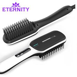 Brosses électriques pour coiffure en Ligne-Fer à lisser cheveux fer Professional Fast Universal Tension Céramique Électrique Redressage brosse Styling Outil ET-16