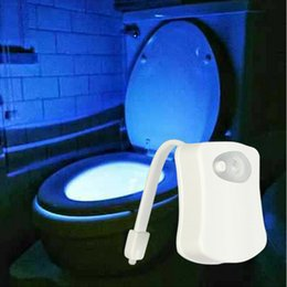 Wholesale Night Light Colors - IR induction LED Toilet Light 8 Colors toilet motion activated Bathroom Human Body Auto Motion Activated Sensor Seat Light Night