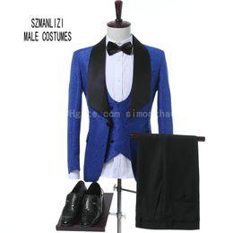 Beste mantel design anzüge online-2018 neuesten Mantel Hose Design Custom Made Classic Royal Blue Blume Männer Hochzeit Anzüge Best Man Blazer Bräutigam Anzug Smoking Prom Party Anzüge