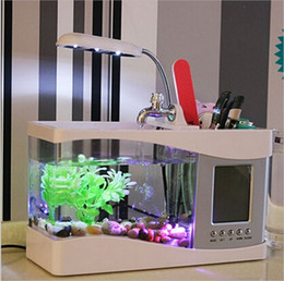 Wholesale Mini Fish Aquariums - Mini USB LCD Desktop Lamp Light Fish Tank Multifunction Aquarium Light LED Clock White Black Valentine Christmas Days Gift 8 5fc Z