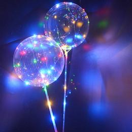 moda bobo Desconto 2017 moda BoBo balões com alça LEVOU luzes da noite rodada 20.5 CM bobo bola transparente claro balões com vara para o Ano Novo