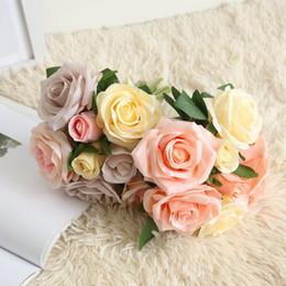 2019 tecido rosa diy Pano Artificial Subiu Flores de Casamento Da Noiva Bouquet Decoração de Casa Flores Rosa DIY Fontes Do Partido Artesanato Artesanal desconto tecido rosa diy