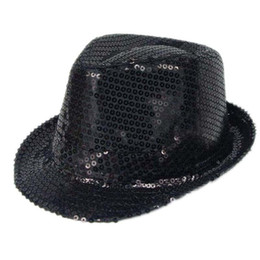 Chinese Glitter Sequin Hats Men Women Fedora Trilby Cap Dance Jazz Hat  Gangster Party Costume Panama 08c58ea91ff2