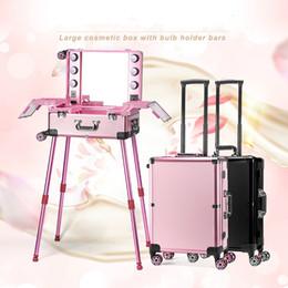professionelle räder Rabatt 2018 beleuchtete Make-up-Box Trolley kosmetische Spiegel Rädern Fall Schönheit Tasche Professional Big