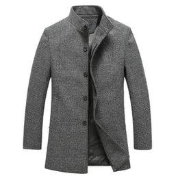 b6e93a7adec5 2018 mandarin-kragen-wollmantel 2018 Winter Herrenmode hochwertige Wolle Jacken  Trenchcoat Männer single breasted