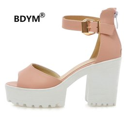 Wholesale Sexy High Heels Lady - BDYM 2018 Candy Ankle Wrap Peep Toe Ladies Sandal Sexy Platform Super High Heels Women party date Chunky Sandal Size 34-43