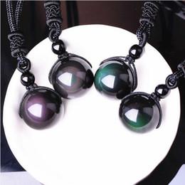 pendant eye brass 2018 - Pendants Natural Stone For Women and Men Black Obsidian Rainbow Eye Beads Ball Transfer Good Lucky Love Energy Gift