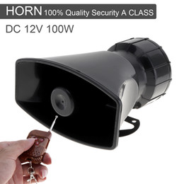 Wholesale Police Siren Speakers - 12V 100W 7 Sound Loud Car Warning Alarm Police Fire Siren Horn Speaker with Brown Remote Controller AUP_439