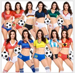 Wholesale Sexy Rugby - 2018 Russia World Cup pants suit print sexy girl cheerleader school uniforms Women sets women 2 piece set top and short pant