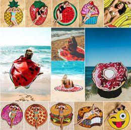 Wholesale Cartoon Printed Shawl - Round 3D Print Beach Towel Cute Food Fruit Pattern Printed Towel Donuts Hamburgers Shawl Scarf 17 Styles OOA4704