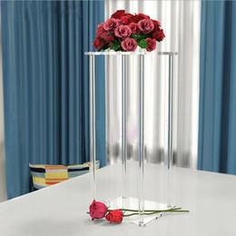 Lampadari da tavolo online-10 pz / lotto 60 cm e 80 cm di altezza piazza acrilico trasparente lampadario di cristallo wedding table top supporto del basamento del fiore trasparente centrotavola pilastro