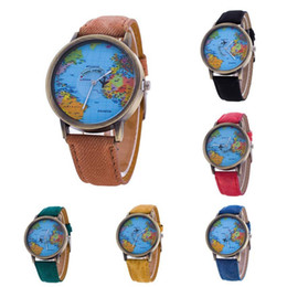 Wholesale red map - 2017 Milky hot sale Fashion Men Women Watch World Map Design Analog Quartz Watch watch 17Jul 28