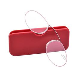 clipes sem moldura Desconto De Metal Mini Presbiopia Óculos Grau + 100 A + 400 Dioptria Frameless Light Clipe Nariz de Leitura Com Caixa Presente Para A Mãe Pai 18sg hh