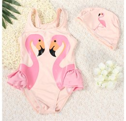 Wholesale Tutu Swimwear - 2-14T One-piece Kids Swimwear Girls baby Swan Pink Flamingo Melon Parrot Swimsuit with Bathing Swimming Cap tutu princess dress swimsuit