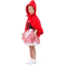 Wholesale Full Latex Hood - red riding hood costume CaGiPlay girls little red riding hood costume fairy tales clothes cute suits female children halloween kids sexy
