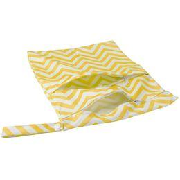 Bolso lavable reutilizable del pañal de la toalla del pañal del bebé, cremallera doble (amarillo + blanco, patrón de la ondulación) desde fabricantes