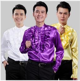 camisas de casamento roxas para homens Desconto 2017 Nova Chegada Dos Homens Camisa Roxa de Manga Longa Partido Prom Vestido Camisas de Desempenho Personalizado Homens Do Casamento Do Noivo Camisa Terno Masculina