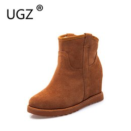 Wholesale winter hidden wedges shoes - UGZ Cow Leather Boots Women Winter Warm Cotton Shoes Female Hidden Wedges Increased Ankle Boots Suede Chestnut Black Grey