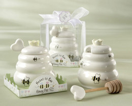 Wholesale honey pot meant bee - 2pcs lot Wedding Favors Party Gifts Mini Honey Pot With Honey Dipper MEANT TO BEE