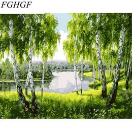 Argentina FGHGF Árboles Verdes Pintura DIY Por Números Kits Moderno Arte de La Pared Pintura de la Lona Único Regalo Para el Hogar Decoración de Arte de Pared 40x50 cm Suministro