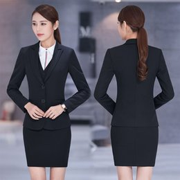 Wholesale Women Jackets For Work - Plus Size 4XL Formal New Professional Business Women Work Suits With 3 Pieces Jackets +Vest +Skirt For Ladies Blazers Outfits
