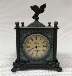 Cloisonne antiques онлайн-Антиквариат Латунь Перегородчатая Западные Часы Старинные Европейский Дом Ретро Украшения