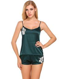 Conjuntos de camisón para las mujeres online-Avidlove Sexy Pajama Women Satin Cami y Shorts Set camisones de encaje cómodos pijamas Sexy Nighties seda artificial ropa de dormir