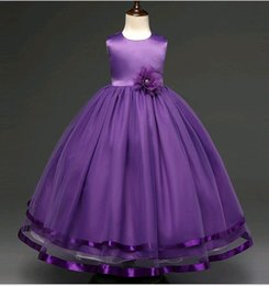 Wholesale Korean Style Wedding Gowns - 2017 Korean Children Wedding Dress Ankle-length Purple Pink Flower Girl Gowns Special Ocasion Dresses for Kids