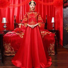 5d426f1d6 Boda china roja novia Cheongsam estilo tradicional casarse con vestido de  noche bordado Long Qipao ropa para mujer talla S - XXL
