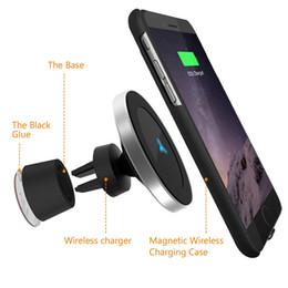 Iphone stand adapter online-Magnetisches drahtloses Ladegerät Schnellladung W5 für Apple iPhone Samsung Galaxie Qi Auflage-schnelle Halter 360 Grad-Stand-Telefon-Auto-Ladegeräte-Adapter