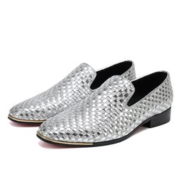 Wholesale Bella Shoes - Christia Bella Handmade Woven Plaid Formal Mens Dress Shoes Genuine Leather Luxury Sliver Wedding Shoes Men Flats Office Loafers