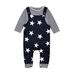 Wholesale Braces Suit - Boy T-shirt Braces Suit Kids Clothing Sets Two-piece Striped Long Sleeve Shirt Vest Pants with Stars 3-24M