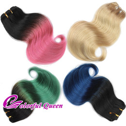 Wholesale Brazilian Blue - 300g Lot Short Ombre Human Hair Bundle Body Wave Pink Green 613 Platinum Blonde Blue Ombre Human Hair Weave Bundles Cosplay Body Wave 6pcs